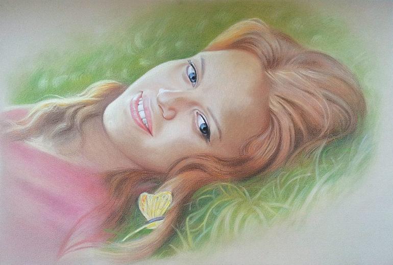 Настоящий портрет пастелью для любимой девушки в Улан-Удэ, просто и со вкусом!