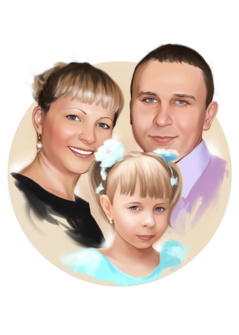 Семейный портрет по фото на холсте в Улан-Удэ — правильный подарок!